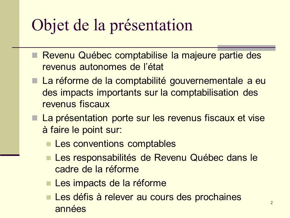2 Objet de la présentation Revenu Québec comptabilise la majeure partie des revenus autonomes de létat La réforme de la comptabilité gouvernementale a