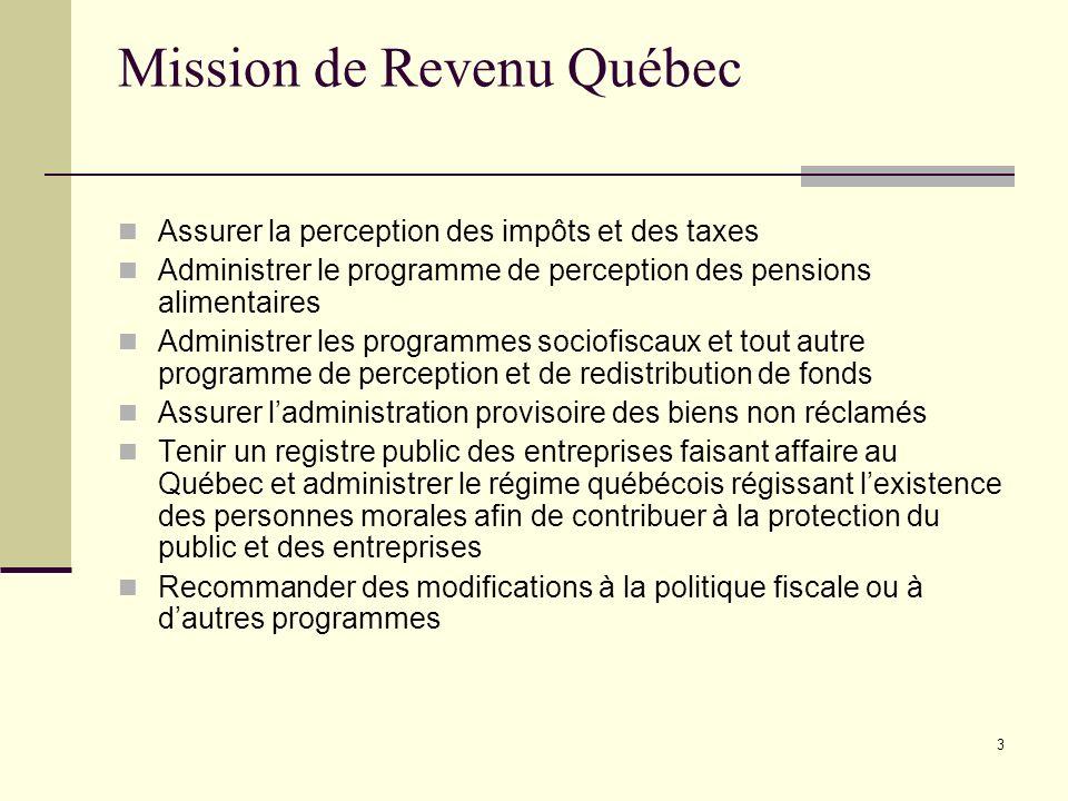 3 Mission de Revenu Québec Assurer la perception des impôts et des taxes Administrer le programme de perception des pensions alimentaires Administrer