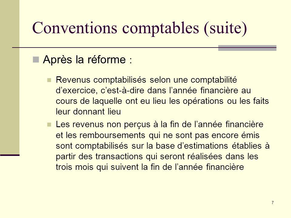 7 Conventions comptables (suite) Après la réforme : Revenus comptabilisés selon une comptabilité dexercice, cest-à-dire dans lannée financière au cour