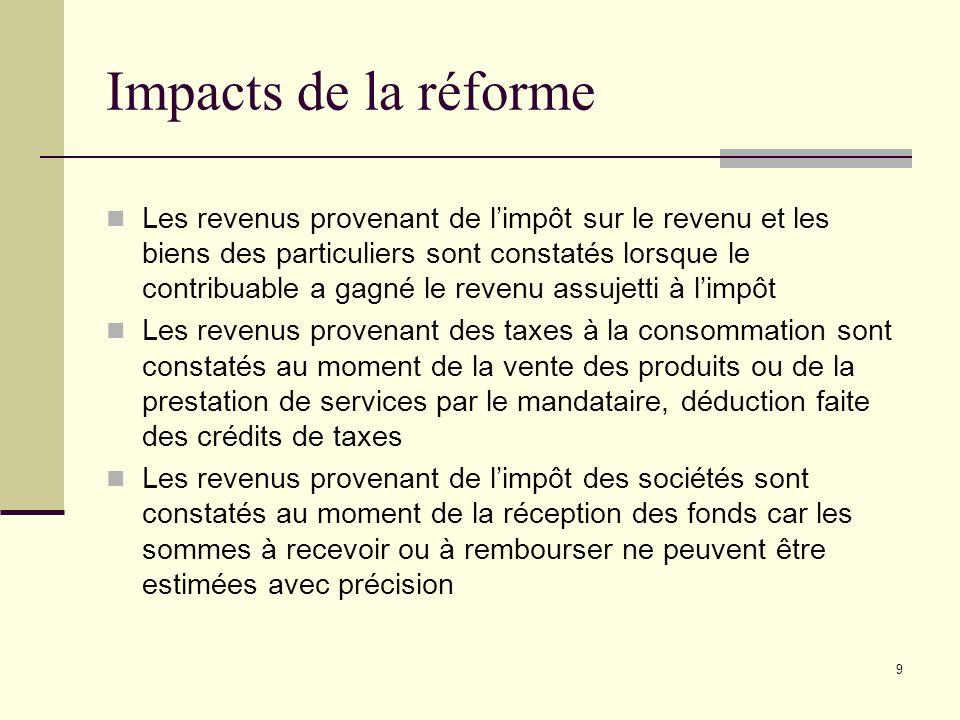 9 Impacts de la réforme Les revenus provenant de limpôt sur le revenu et les biens des particuliers sont constatés lorsque le contribuable a gagné le