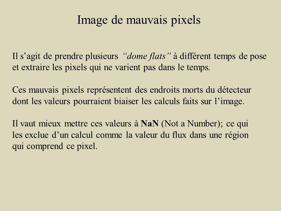 Image de mauvais pixels Il sagit de prendre plusieurs dome flats à différent temps de pose et extraire les pixels qui ne varient pas dans le temps.