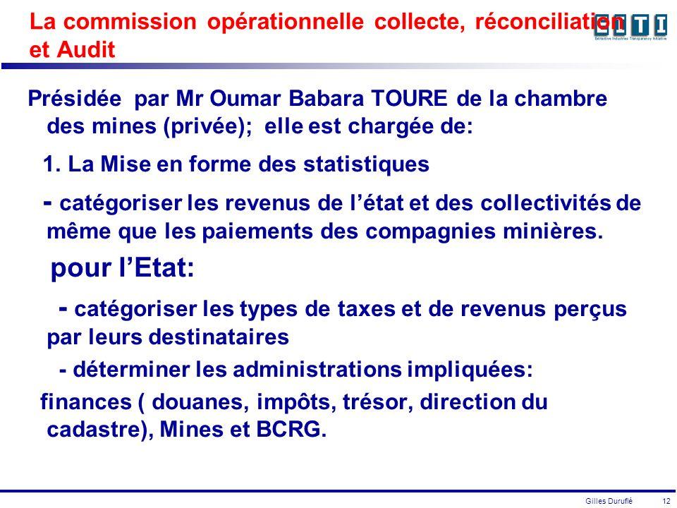 Gilles Duruflé 12 La commission opérationnelle collecte, réconciliation et Audit Présidée par Mr Oumar Babara TOURE de la chambre des mines (privée); elle est chargée de: 1.