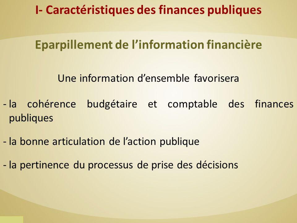 Eparpillement de linformation financière Une information densemble favorisera -la cohérence budgétaire et comptable des finances publiques -la bonne a