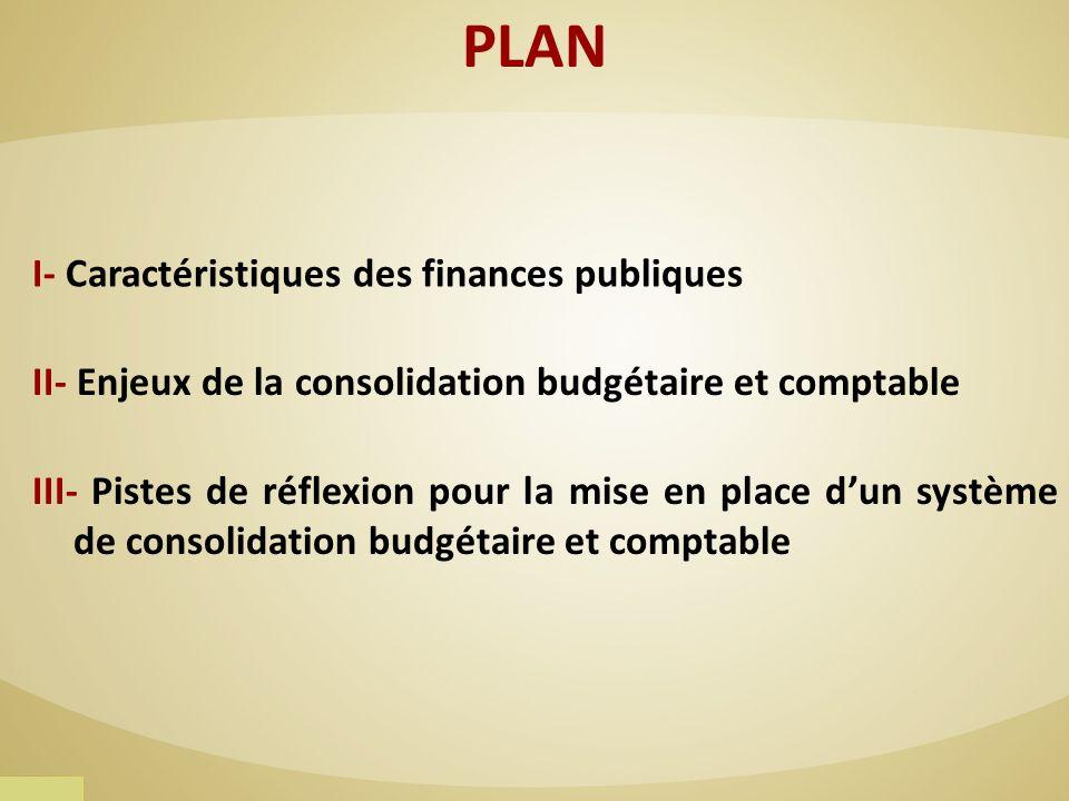 III- Pistes de réflexion pour la mise en place dun système de consolidation budgétaire et comptable PLAN I- Caractéristiques des finances publiques II