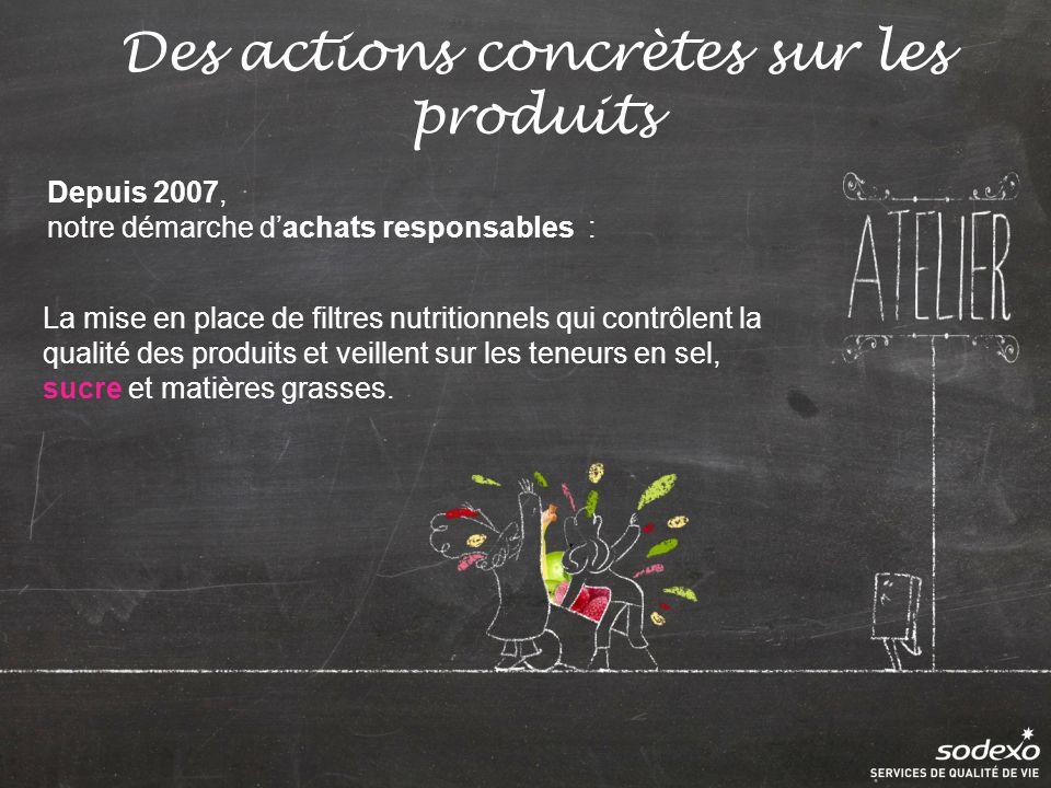 Des actions concrètes sur les produits Depuis 2007, notre démarche dachats responsables : La mise en place de filtres nutritionnels qui contrôlent la qualité des produits et veillent sur les teneurs en sel, sucre et matières grasses.