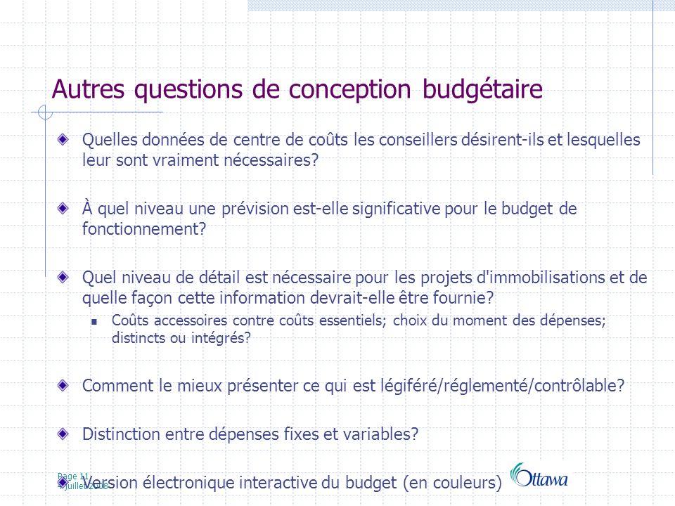 Page 11 4 juillet 2008 Autres questions de conception budgétaire Quelles données de centre de coûts les conseillers désirent-ils et lesquelles leur sont vraiment nécessaires.