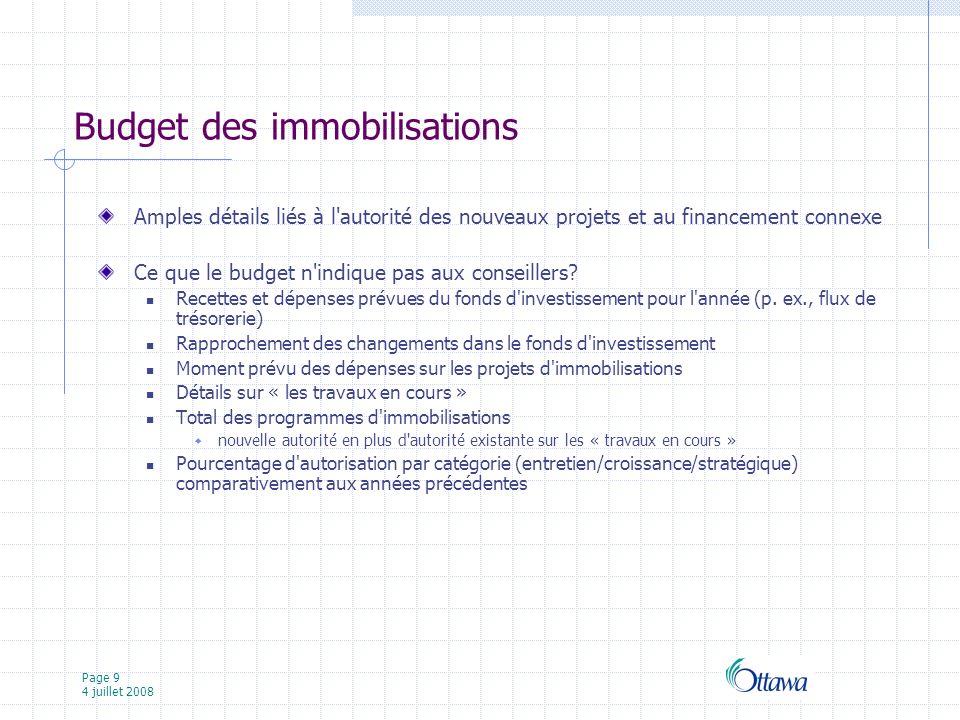 Page 9 4 juillet 2008 Budget des immobilisations Amples détails liés à l autorité des nouveaux projets et au financement connexe Ce que le budget n indique pas aux conseillers.