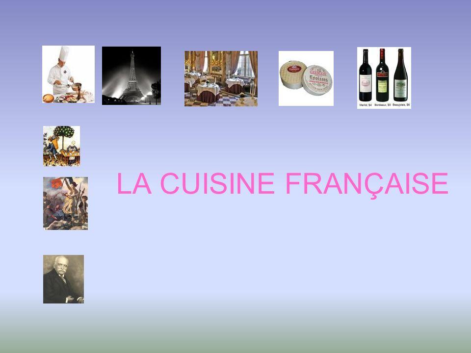 Au cours des siècles la cuisine française a évolué grâce aux changements sociaux et politiques.