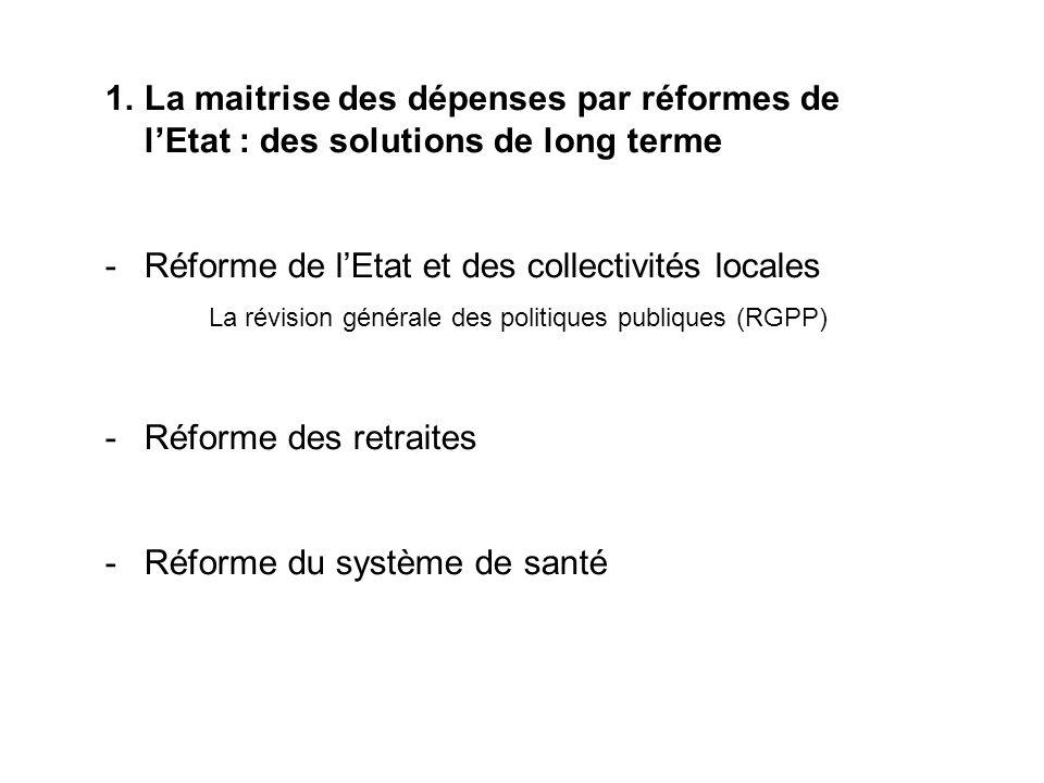 1.La maitrise des dépenses par réformes de lEtat : des solutions de long terme -Réforme de lEtat et des collectivités locales La révision générale des
