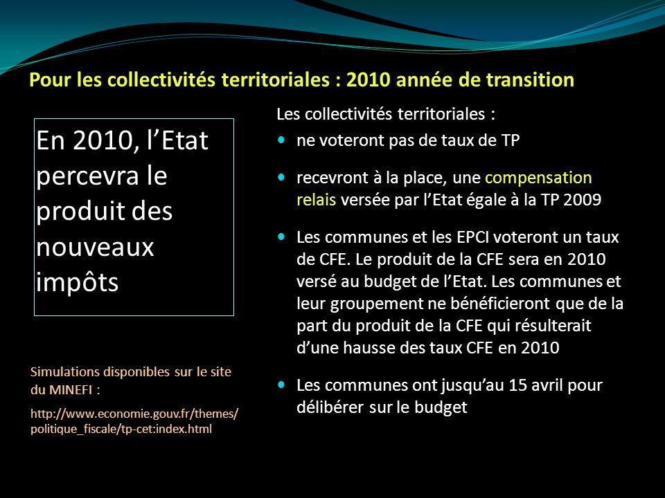 Effets de la réforme pour les collectivités territoriales à compter de 2011 Les communes vont percevoir : la CFE 26.5% de la CVAE la part départementale de la taxe dhabitation et de la taxe foncière sur les propriétés non bâties la taxe sur les surfaces commerciales la moitié de lIFER sur les installations hydroélectriques, photovoltaïques, 2/3 de lIFER sur les antennes relais, entre 30 et 100% de lIFER sur les éoliennes, 100% de lIFER sur les transformateurs EDF
