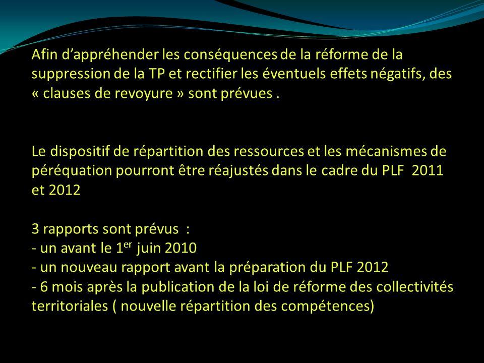 Afin dappréhender les conséquences de la réforme de la suppression de la TP et rectifier les éventuels effets négatifs, des « clauses de revoyure » sont prévues.
