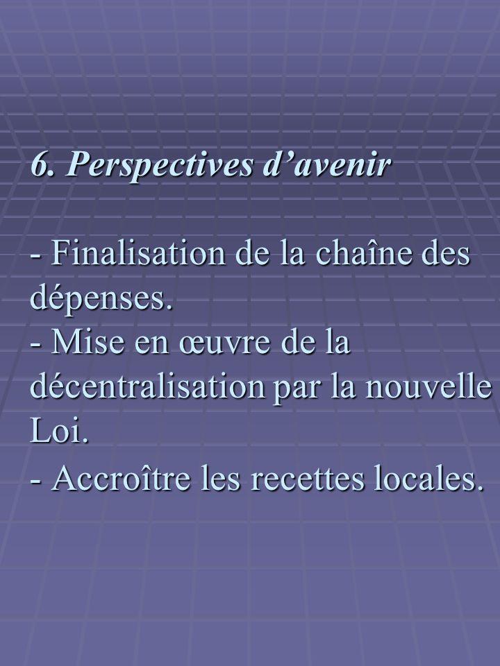 6.Perspectives davenir - Finalisation de la chaîne des dépenses.