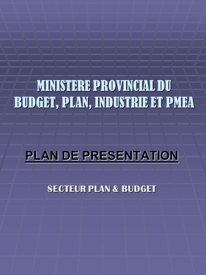 MINISTERE PROVINCIAL DU BUDGET, PLAN, INDUSTRIE ET PMEA PLAN DE PRESENTATION SECTEUR PLAN & BUDGET