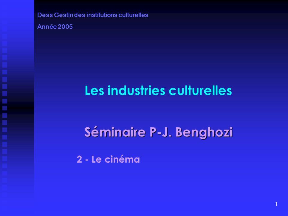 1 Les industries culturelles Séminaire P-J.