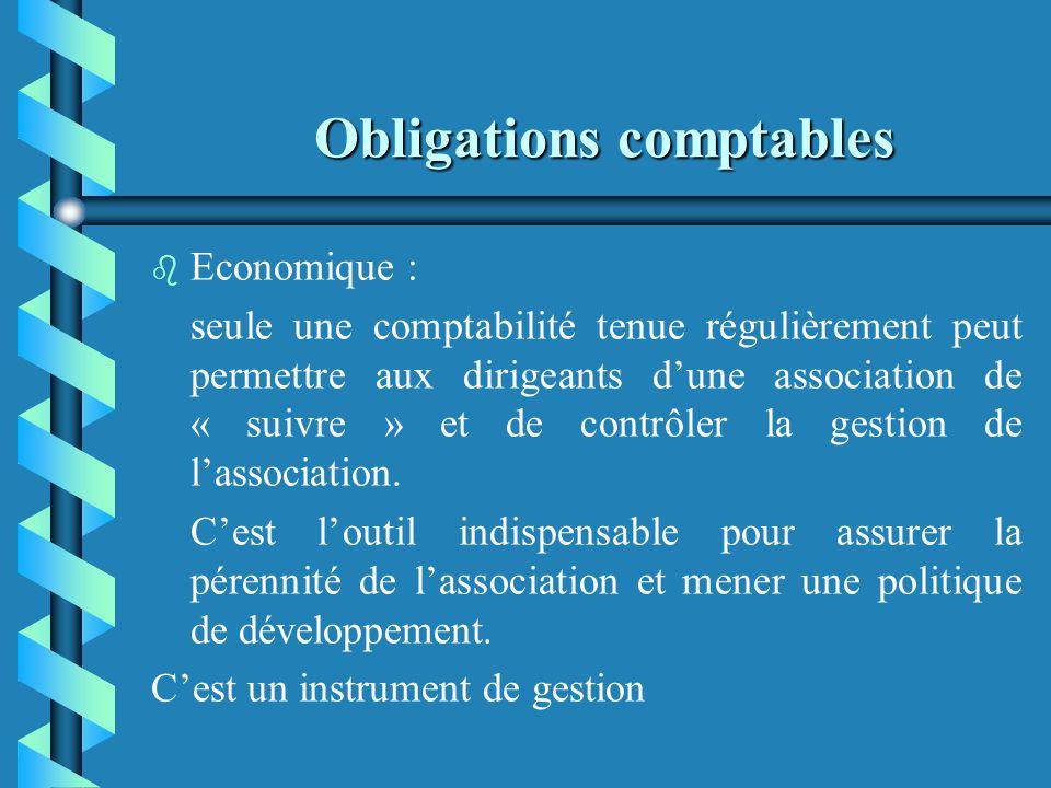 Obligations comptables b b Démocratique : présenter des comptes compréhensibles et vérifiables aux adhérents qui ont légalement accès à la comptabilit