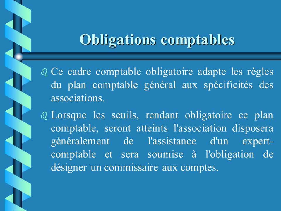 Obligations comptables Dans certains cas bien précis, les associations ont lobligation détablir leurs comptes annuels selon les règles prévues par le