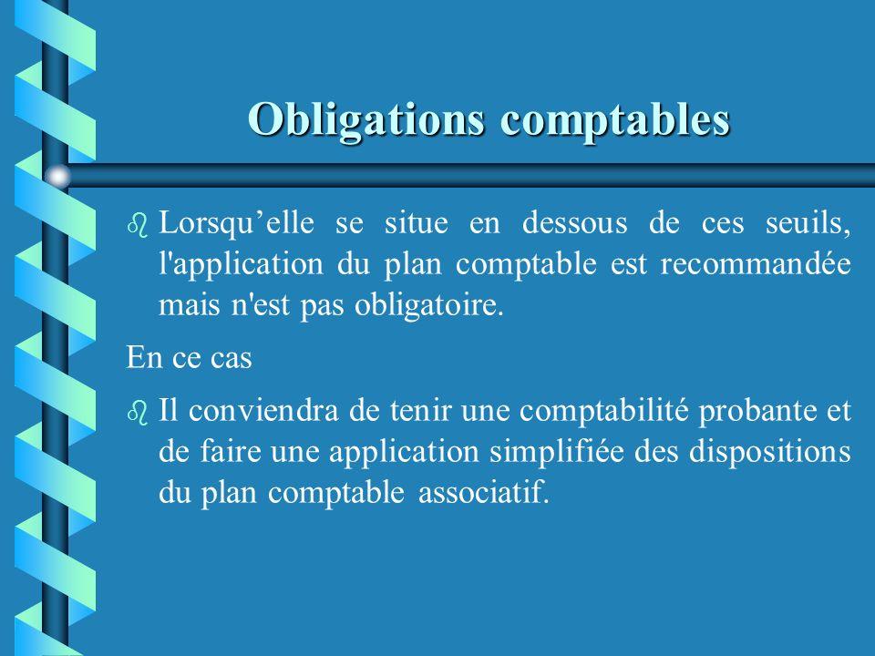 Obligations comptables b b Ce cadre comptable obligatoire adapte les règles du plan comptable général aux spécificités des associations. b b Lorsque l