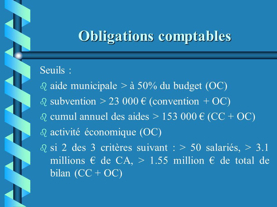 Obligations comptables b b Lorsquelle se situe en dessous de ces seuils, l'application du plan comptable est recommandée mais n'est pas obligatoire. E