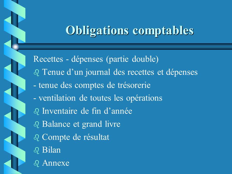 Obligations comptables Recettes - dépenses (partie simple) b b Tenue dun journal des recettes et dépenses - tenue des comptes de trésorerie - ventilat