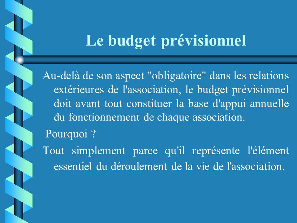 Le budget prévisionnel Le budget prévisionnel est un outil précieux de pilotage, de communication et de gestion au service du projet associatif : cest