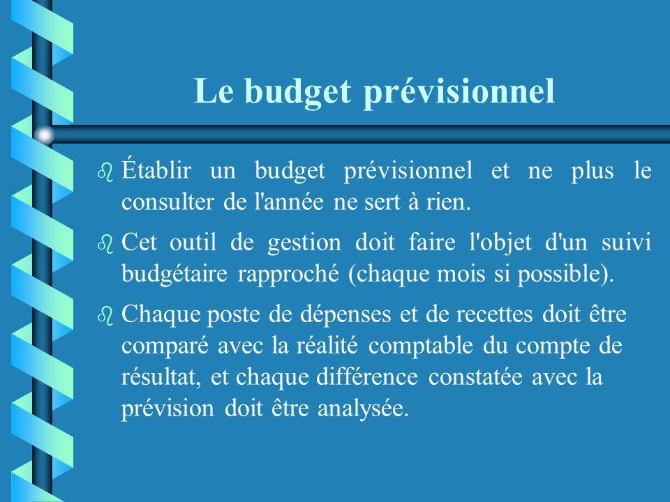 Le budget prévisionnel Au-delà de son aspect