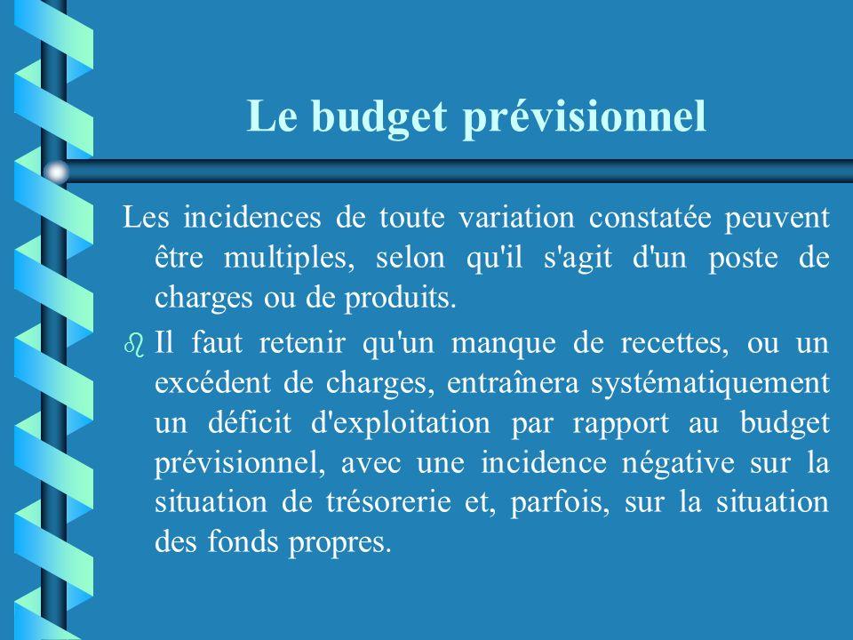 Le budget prévisionnel b b Établir un budget prévisionnel et ne plus le consulter de l'année ne sert à rien. b b Cet outil de gestion doit faire l'obj