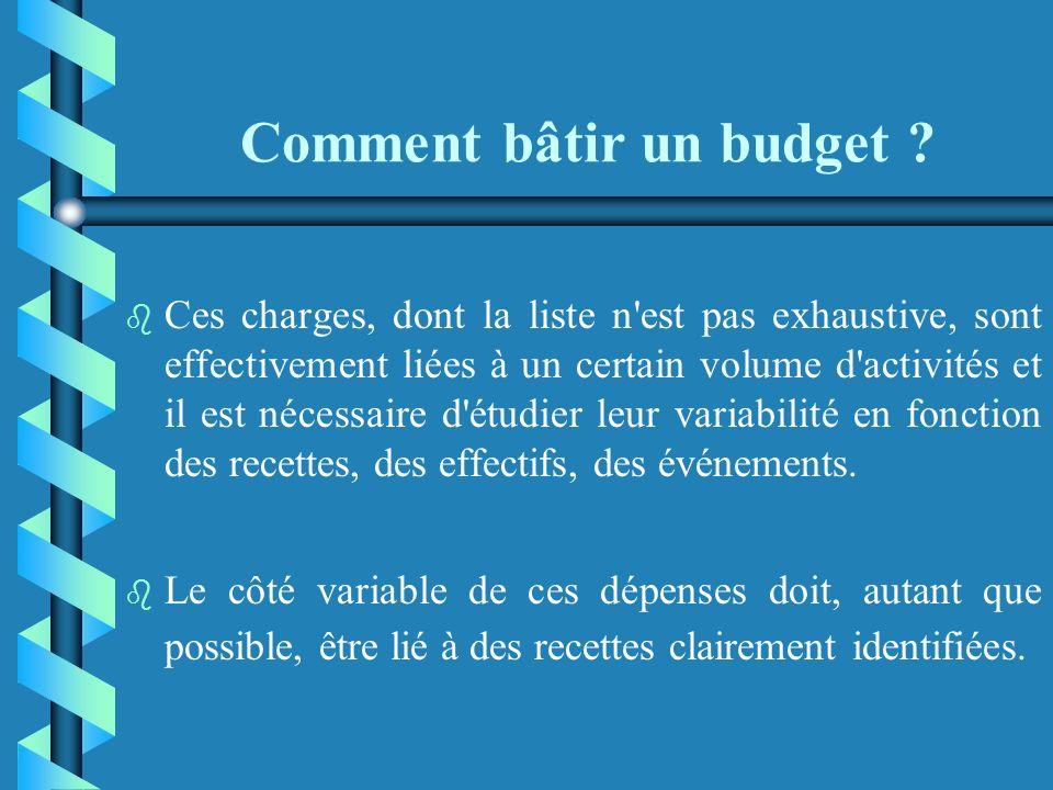 Comment bâtir un budget ? Les charges variables b b Les risques de décalage proviennent le plus souvent des postes ci-après : · les achats, souvent li