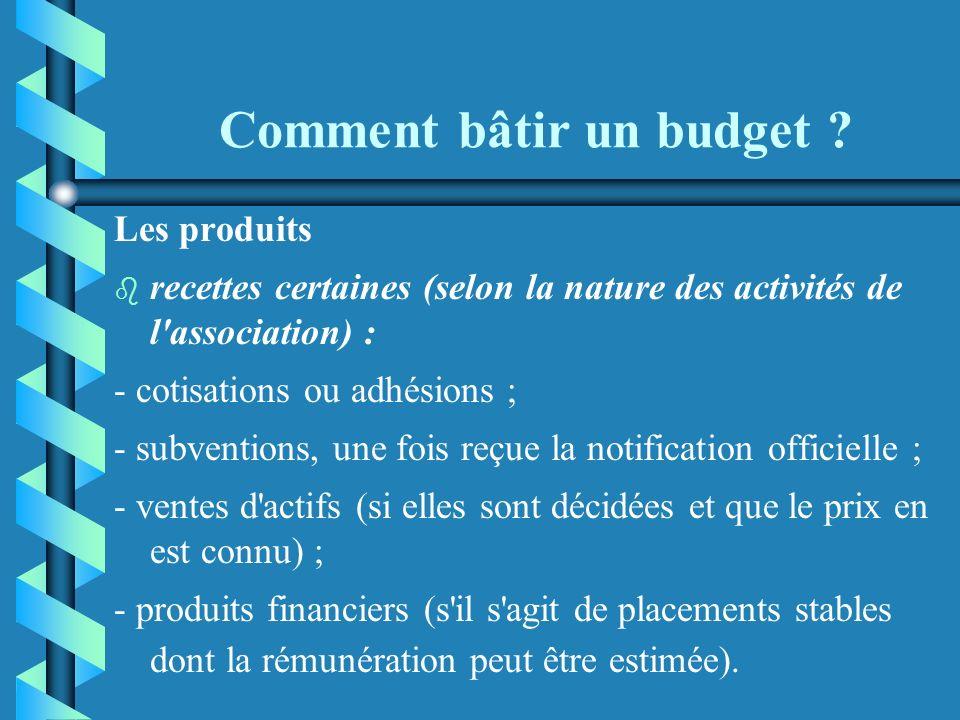 Comment bâtir un budget ? b b Ces charges, dont la liste n'est pas exhaustive, sont effectivement liées à un certain volume d'activités et il est néce