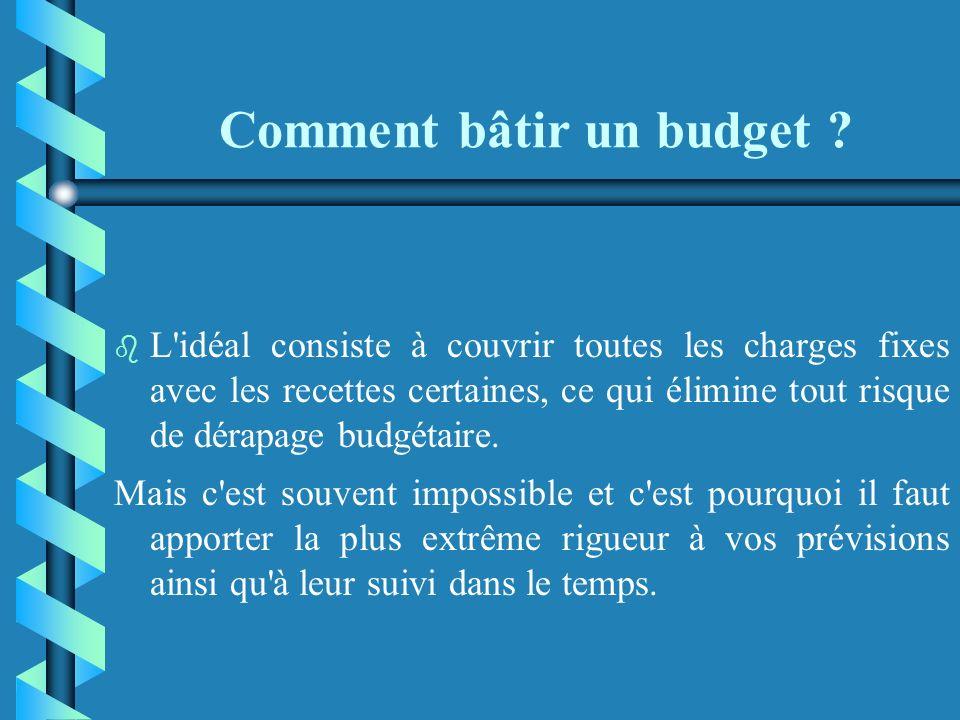 Comment bâtir un budget ? b b recettes aléatoires : - ventes commerciales (lorsque c'est le cas) ; - prestations de service ; - recettes diverses (don