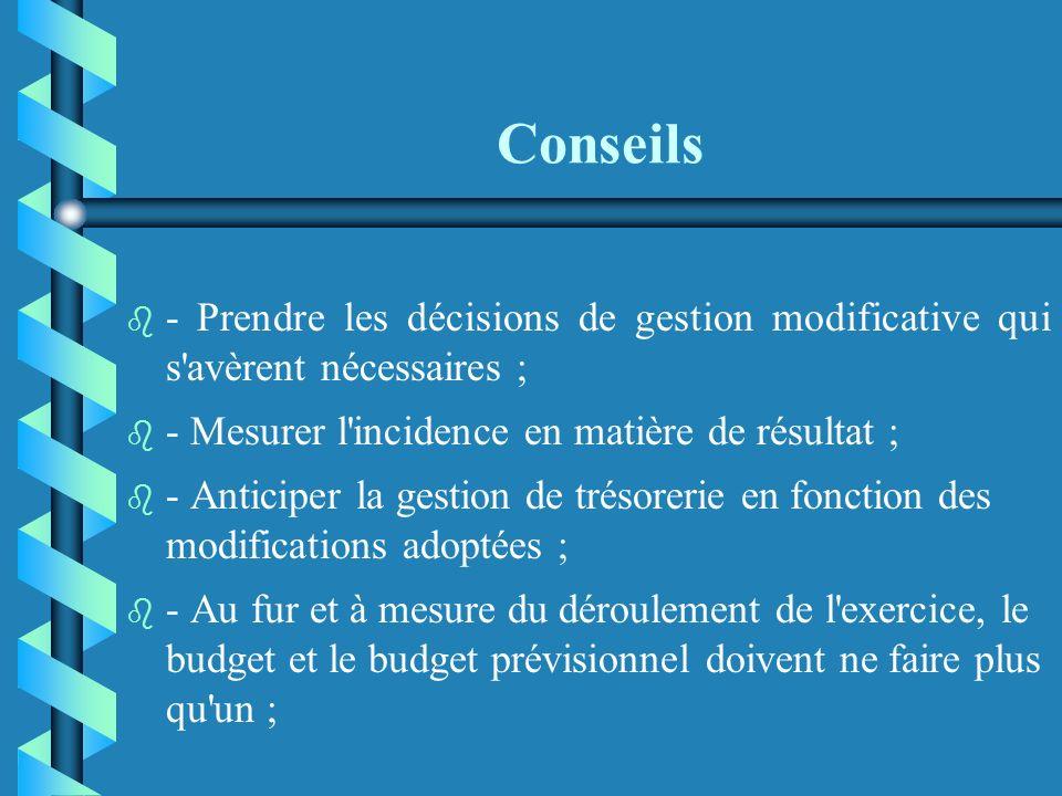 Conseils b b - Informatiser le suivi budgétaire (un tableur suffit) ; b b - Pratiquer un rapprochement mensuel avec la comptabilité ; b b - En extrair