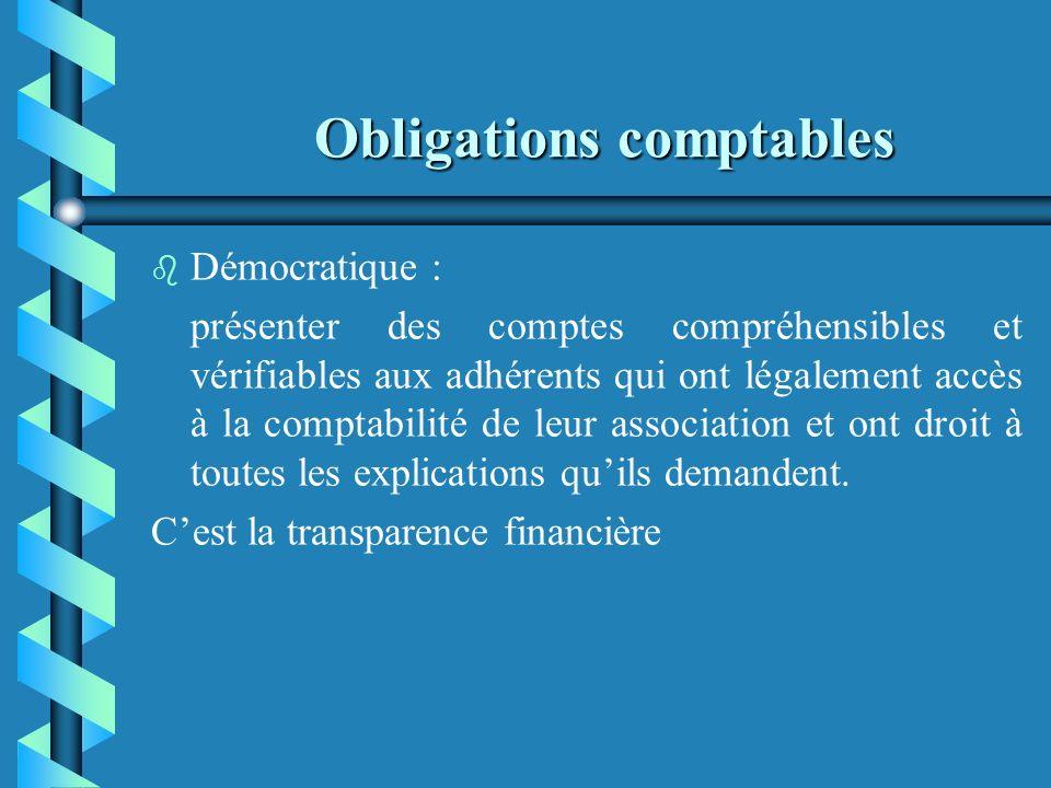 Obligations comptables Pour cela, il est recommandé de tenir une comptabilité pour trois raisons : b b Démocratique b b Economique b b Juridique