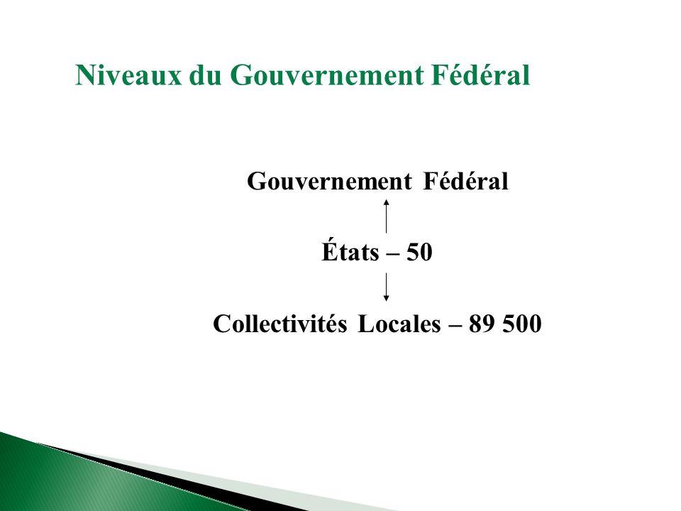Niveaux du Gouvernement Fédéral Gouvernement Fédéral États – 50 Collectivités Locales – 89 500