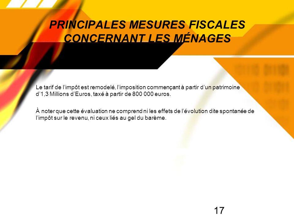 17 PRINCIPALES MESURES FISCALES CONCERNANT LES MÉNAGES Le tarif de limpôt est remodelé, limposition commençant à partir dun patrimoine d1,3 Millions dEuros, taxé à partir de 800 000 euros.
