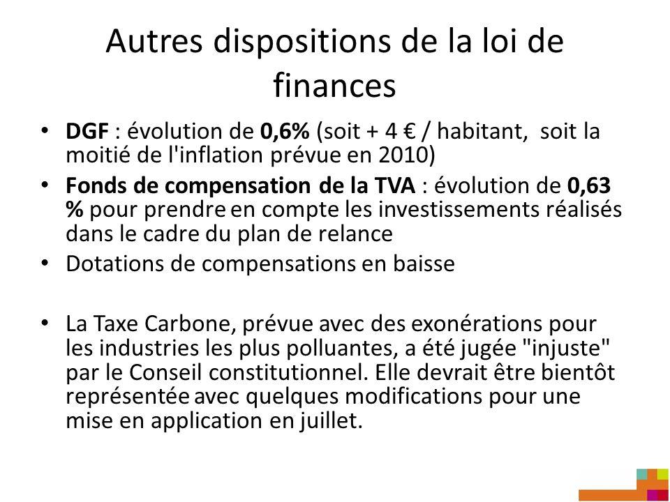Autres dispositions de la loi de finances DGF : évolution de 0,6% (soit + 4 / habitant, soit la moitié de l'inflation prévue en 2010) Fonds de compens