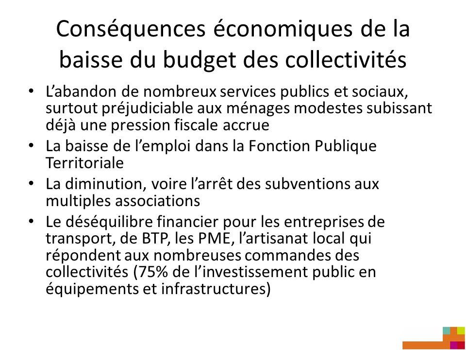 Conséquences économiques de la baisse du budget des collectivités Labandon de nombreux services publics et sociaux, surtout préjudiciable aux ménages