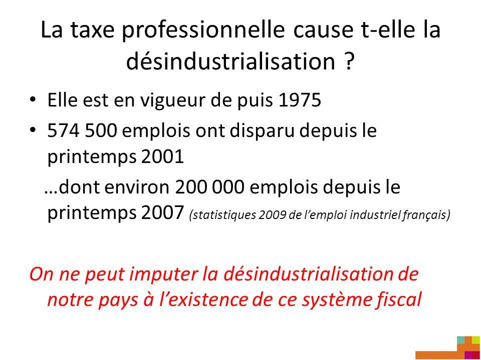 La taxe professionnelle cause t-elle la désindustrialisation ? Elle est en vigueur de puis 1975 574 500 emplois ont disparu depuis le printemps 2001 …