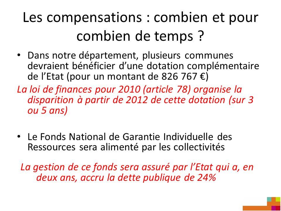 Les compensations : combien et pour combien de temps ? Dans notre département, plusieurs communes devraient bénéficier dune dotation complémentaire de