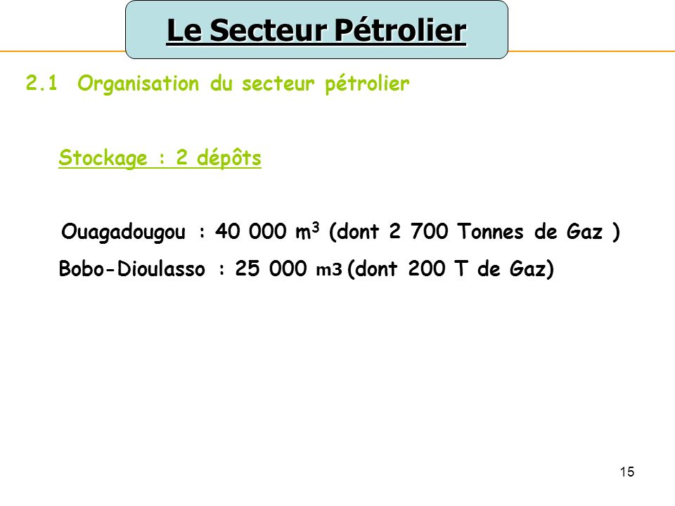 15 Le Secteur Pétrolier 2.1 Organisation du secteur pétrolier Stockage : 2 dépôts Ouagadougou : 40 000 m 3 (dont 2 700 Tonnes de Gaz ) Bobo-Dioulasso : 25 000 m3 (dont 200 T de Gaz)