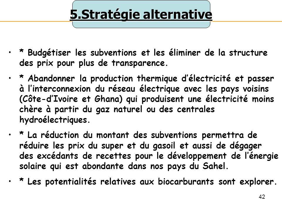 42 5.Stratégie alternative * Budgétiser les subventions et les éliminer de la structure des prix pour plus de transparence.