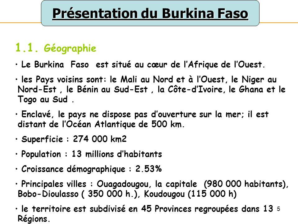 5 Présentation du Burkina Faso 1.1. Géographie Le Burkina Faso est situé au cœur de lAfrique de lOuest. les Pays voisins sont: le Mali au Nord et à lO
