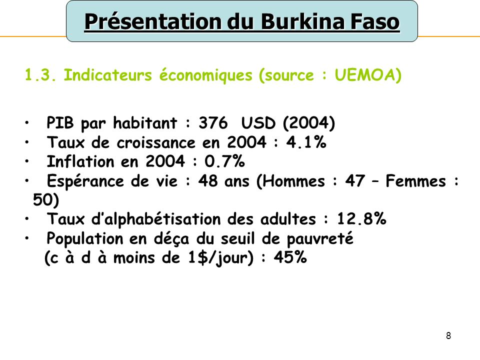 8 Présentation du Burkina Faso 1.3.