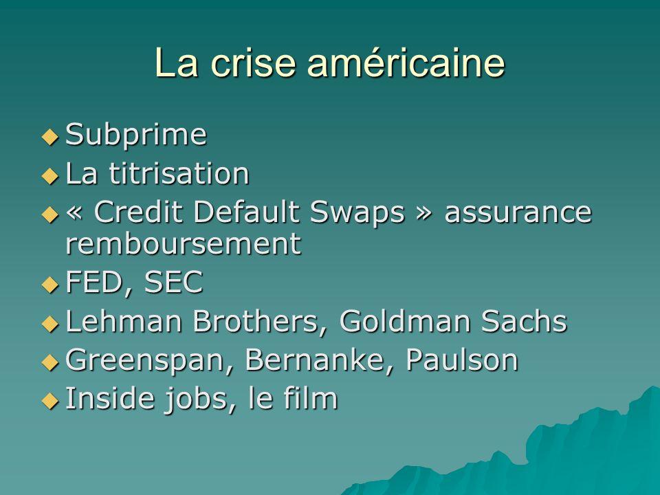 La crise américaine Subprime Subprime La titrisation La titrisation « Credit Default Swaps » assurance remboursement « Credit Default Swaps » assuranc