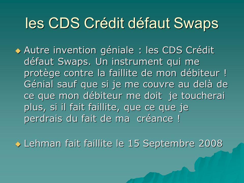 les CDS Crédit défaut Swaps Autre invention géniale : les CDS Crédit défaut Swaps. Un instrument qui me protège contre la faillite de mon débiteur ! G