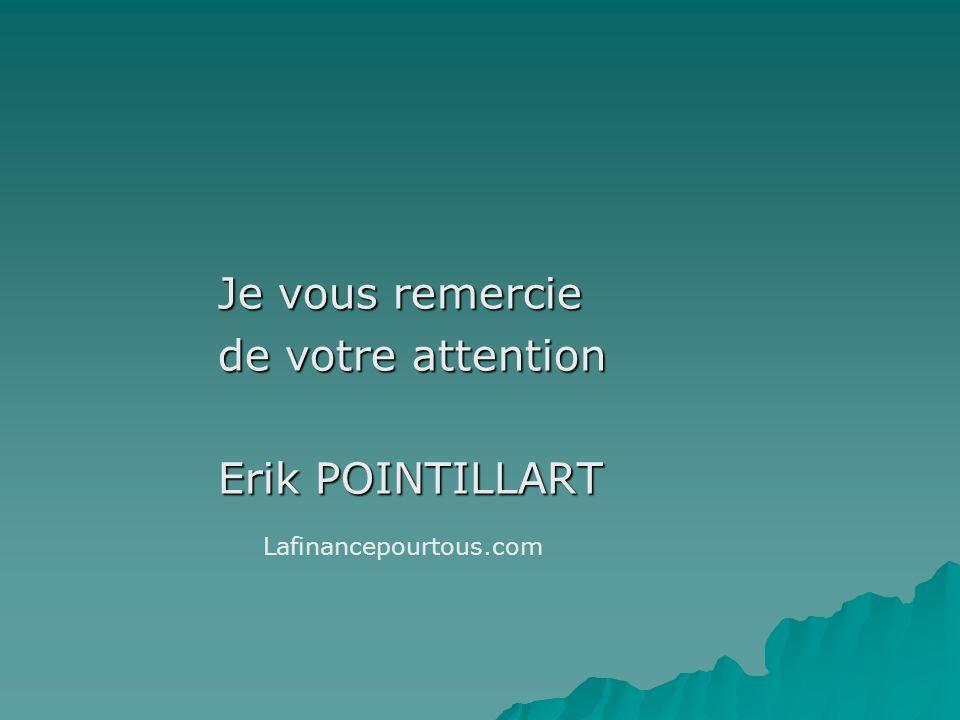 Je vous remercie de votre attention Erik POINTILLART Lafinancepourtous.com