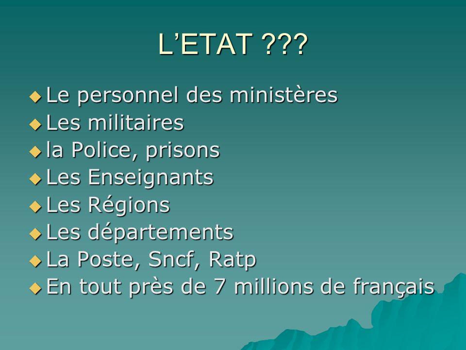 LETAT ??? Le personnel des ministères Le personnel des ministères Les militaires Les militaires la Police, prisons la Police, prisons Les Enseignants