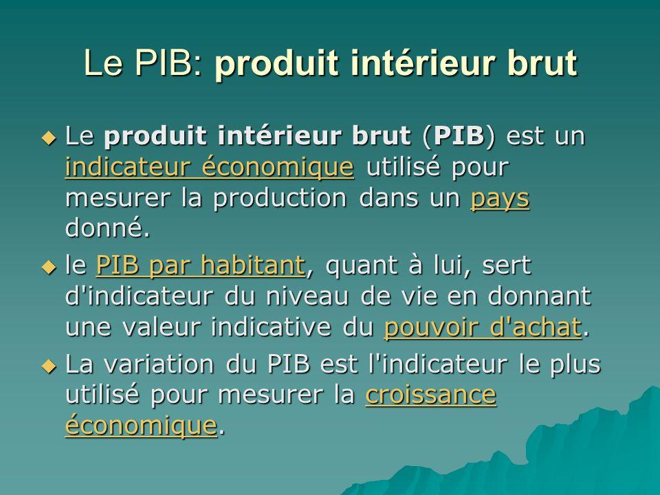 Le PIB: produit intérieur brut Le produit intérieur brut (PIB) est un indicateur économique utilisé pour mesurer la production dans un pays donné. Le