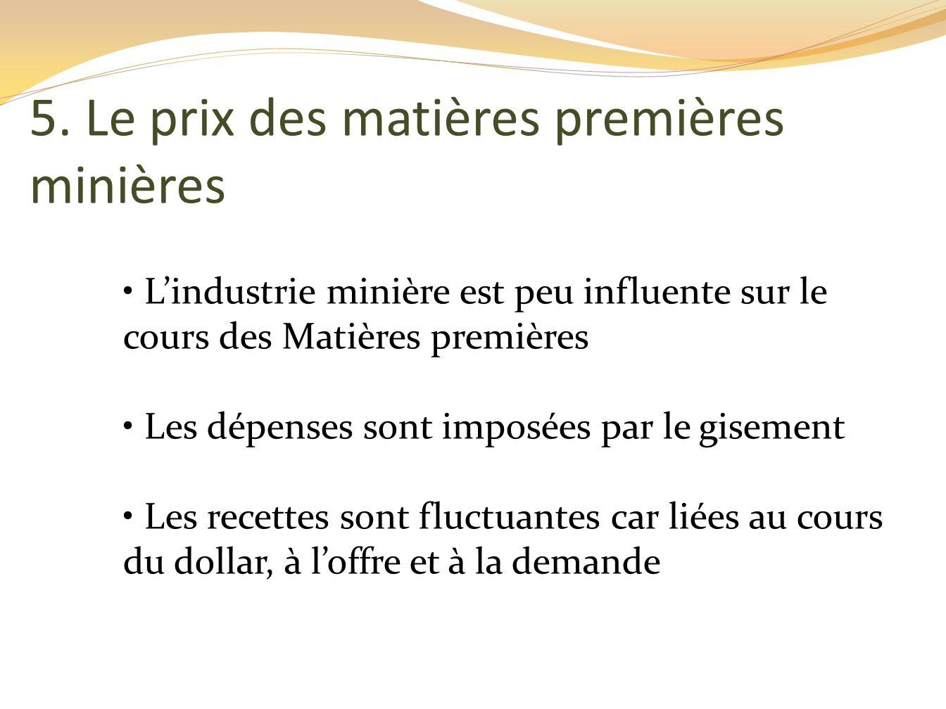 Linvestissement minier (suite) Choix stratégique délicat Cas où linvestissement a été effectué mais le cours mondial a chuté.