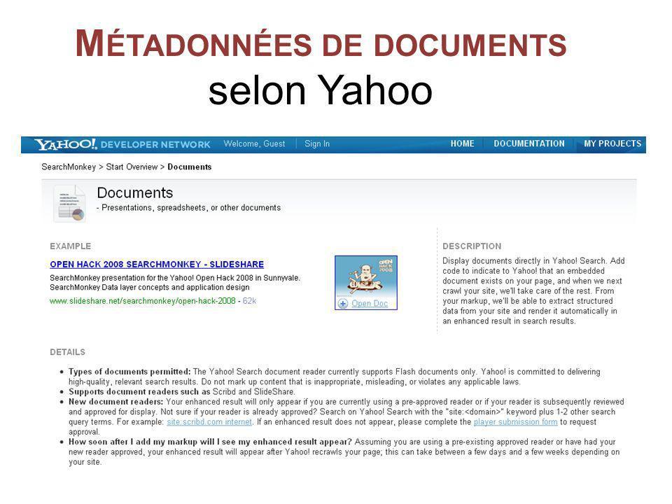 M ÉTADONNÉES DE DOCUMENTS selon Yahoo