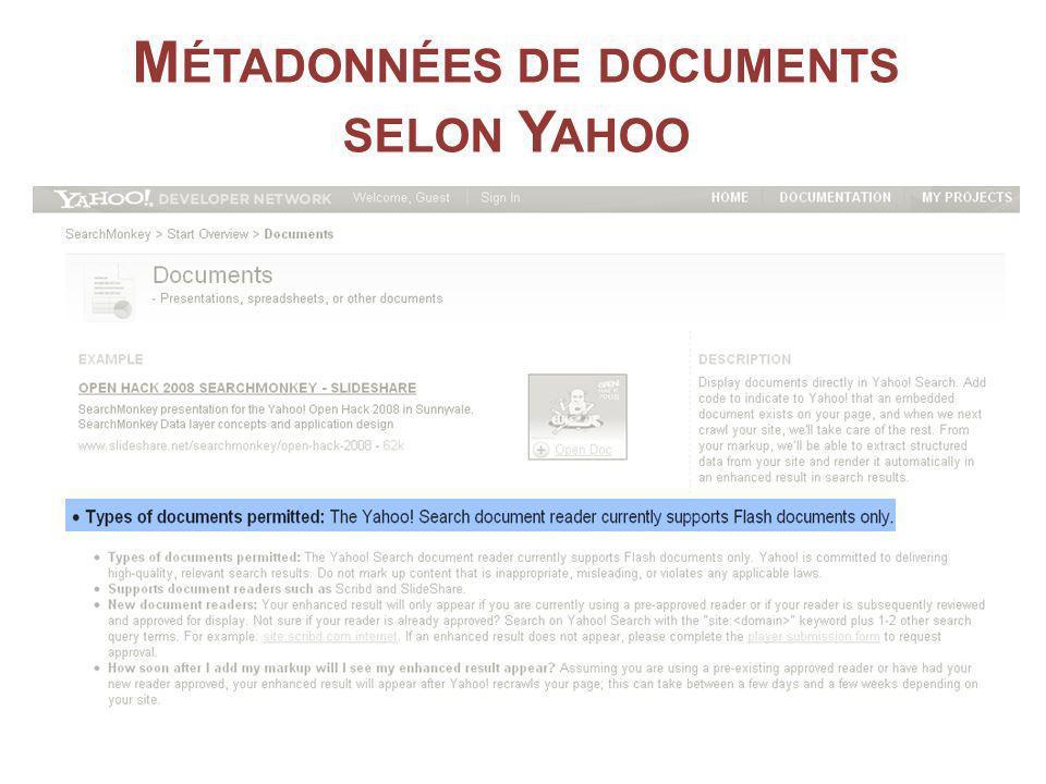 M ÉTADONNÉES DE DOCUMENTS SELON Y AHOO