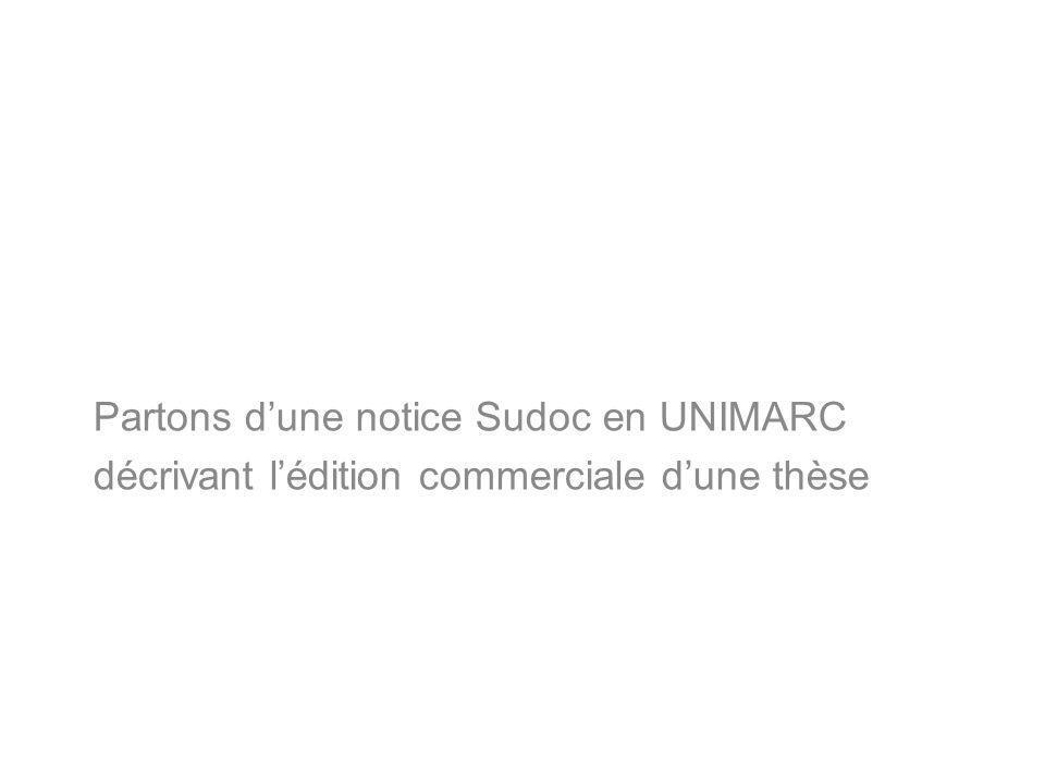 Partons dune notice Sudoc en UNIMARC décrivant lédition commerciale dune thèse